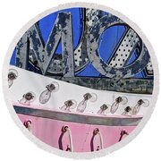 Round Beach Towel featuring the photograph mOOx by Skip Hunt