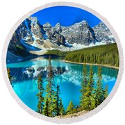 Moraine Lake Morning Reflections Though The Trees Round Beach Towel
