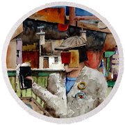 Round Beach Towel featuring the painting More Thro The Window On The World by Val Byrne