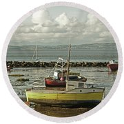 Morecambe. Boats On The Shore. Round Beach Towel