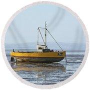 Morecambe. Yellow Fishing Boat. Round Beach Towel