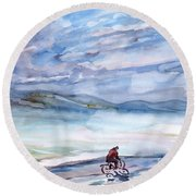 Morning Bike Ride Round Beach Towel