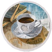 Round Beach Towel featuring the mixed media Morning Coffee by Clint Hansen