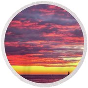 Morning Fire Over Whaleback Light Round Beach Towel