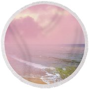 Morning Hour By The Seashore In Dreamland Round Beach Towel