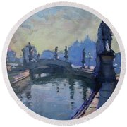 Morning In Padua Italy Round Beach Towel