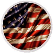 Morning Light American Flag  Round Beach Towel