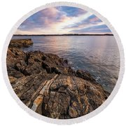 Morning Light Over The Piscataqua River. Round Beach Towel