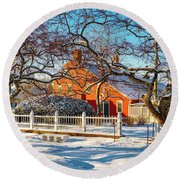 Morning Light, Winter Garden. Round Beach Towel