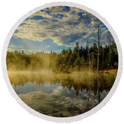 Morning Mist, Wildlife Pond  Round Beach Towel