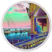 Morning Pink Marquette Ore Dock Round Beach Towel