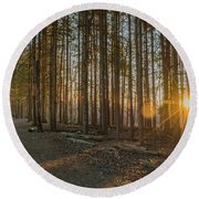 Morning Rays Round Beach Towel