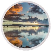 Morning Reflections Waterscape Round Beach Towel