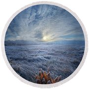 Morning Time Blues Round Beach Towel