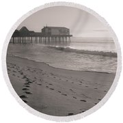 Round Beach Towel featuring the photograph Morning Walk On Old Orchard Beach by Dan Sproul