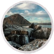 Morro Rock Breakwater Round Beach Towel