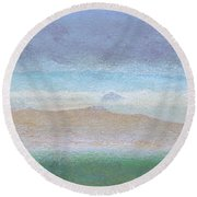 Morro Rock View From Hwy 46 Round Beach Towel