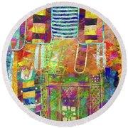 Mosaic Garden Round Beach Towel