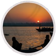 Mother Ganges Round Beach Towel