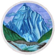 Snow Peak Above The Clouds Round Beach Towel