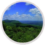 Round Beach Towel featuring the photograph Mount Everett And Mount Race From The Summit Of Bear Mountain In Connecticut by Raymond Salani III
