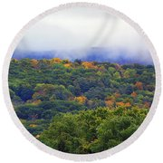 Round Beach Towel featuring the photograph Mount Greylock In The Clouds by Raymond Salani III