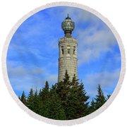 Round Beach Towel featuring the photograph Mount Greylock Tower From Bascom Lodge by Raymond Salani III