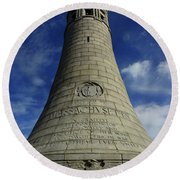 Round Beach Towel featuring the photograph Mount Greylock Tower Up And Close 2 by Raymond Salani III