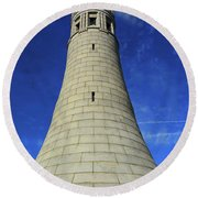 Round Beach Towel featuring the photograph Mount Greylock Tower Up And Close by Raymond Salani III