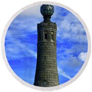 Round Beach Towel featuring the photograph Mount Greylock Tower With Clouds by Raymond Salani III