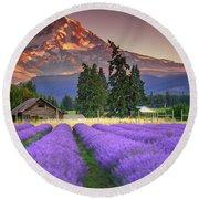 Mount Hood Lavender Field  Round Beach Towel