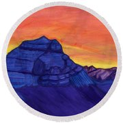 Stone Knight Guarding The Sacred Mountain Round Beach Towel