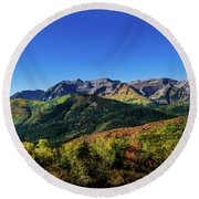Round Beach Towel featuring the photograph Mount Timpanogos by TL Mair