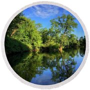 Round Beach Towel featuring the photograph Mount Vernon Iowa by Dan Miller