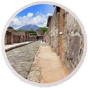 Mount Vesuvius And The Ruins Of Pompeii Italy Round Beach Towel