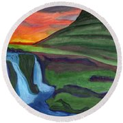 Mountain And Waterfall In The Rays Of The Setting Sun Round Beach Towel