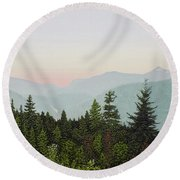 Round Beach Towel featuring the painting Mountain Dusk by Kenneth M Kirsch