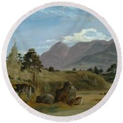 Mountain Landscape, Possibly In The Lake District Round Beach Towel