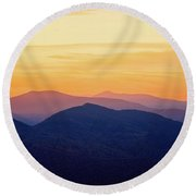 Mountain Light And Silhouette  Round Beach Towel