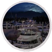 Round Beach Towel featuring the photograph Mountain Lights by Ross G Strachan