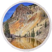 Mountain Reflections Round Beach Towel