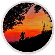 Mountain Sunrise Round Beach Towel
