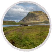 Mountain Top Of Iceland Round Beach Towel