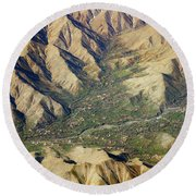 Round Beach Towel featuring the photograph Mountain Valley Village by SR Green