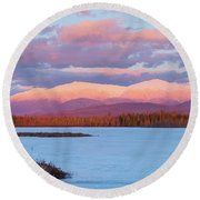 Mountain Views Over Cherry Pond Round Beach Towel