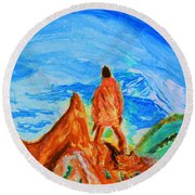 Mountain Vista Round Beach Towel