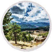 Mountains Across The Way Round Beach Towel