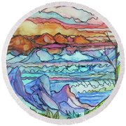 Mountains And Sea Round Beach Towel