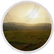 Round Beach Towel featuring the photograph Mountains At Dawn by Nicole Lloyd