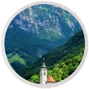 Mountainside Church Round Beach Towel
